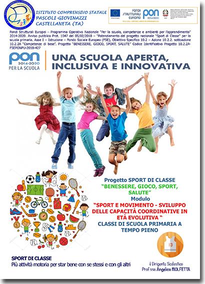 Istituto Comprensivo Pascoli Giovinazzi Castellaneta Pon 2014 2020 Sport Di Classe